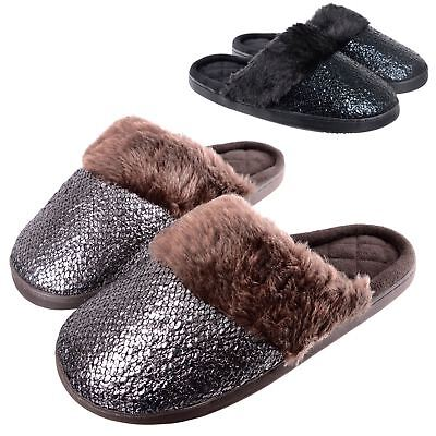 Ladies Sparkle Slip On Mule Slippers Black / Brown Soft Plush Lining Hard Soles