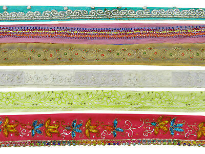 Vintage Indian Sewing Antique Sari Multicolor Ribbon Lot Of 6 Pcs Lace Used Trim
