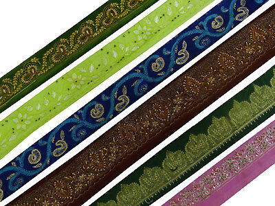 Antique Indian Vintage Lace Sari Multicolor Ribbon Sewing Veil Lot Of 6 Pcs Trim