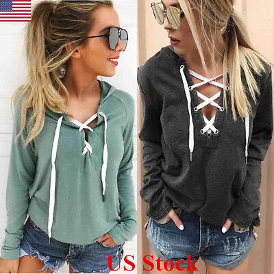US Women Lace Up Casual Long Sleeve Hoodie Sweatshirt Jumper Pullover Tops Coats