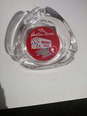 RARE glass ashtray THE HOSTESS ROOM Wonder Bread loaf pic Hostess Cake , Vintage