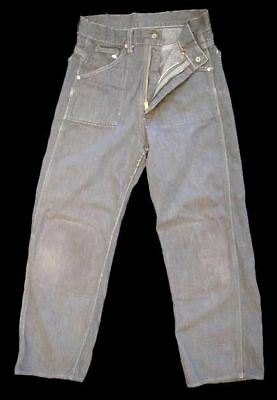 Vintage Mens/ Womens  Denim Jeans Cotton Gray  Small  24/22  1950'S Damaged XS S