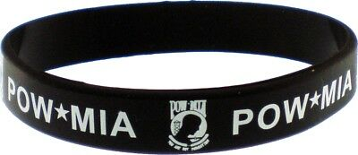 """POW MIA Letters Silicone Rubber Wristband [Pack of 2 - Black - 8""""]"""