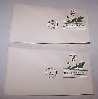 Two 1980 Honeybee First Day Issue Envelope PARIS ILLINOIS