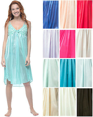 Casual Nights Women's Satin Lace Camisole Nightgown