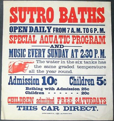 "SUTRO BATHS~RARE ORIGINAL 17"" x 18"" ANTIQUE 1897 SAN FRANCISCO STREETCAR POSTER"