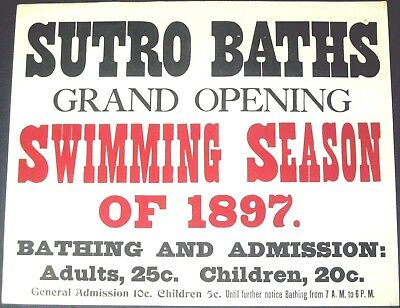 "SUTRO BATHS~RARE ORIGINAL 13"" x 16"" ANTIQUE 1897 SAN FRANCISCO STREETCAR POSTER"