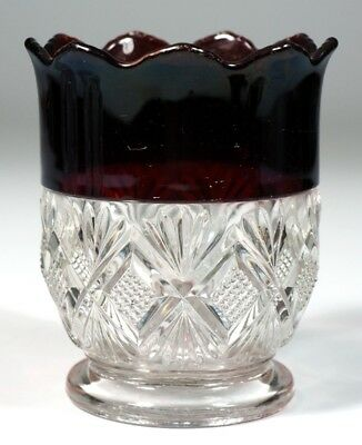 EAPG - DIAMOND WITH DOUBLE FANS - Ruby Stained Spooner