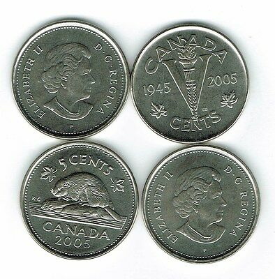 2005-P Two Types Canadian Uncirculated Business Strike & VE Day 5 Cent Coins!