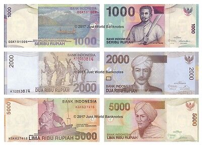 Indonesia 1000 + 2000 + 5000 Rupiah 2012 Set of 3 Banknotes 3 PCS UNC