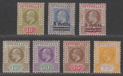Seychelles 1903-16 KEVII-KGV Selection to 75c Mint mixed condition