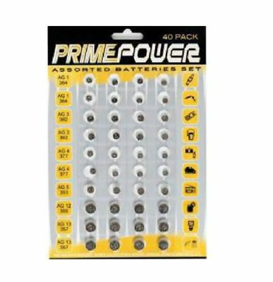 Brand New Pack of 40 High Power Assorted Button Cell Battery Kit and Set