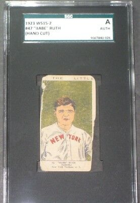 1923 W515-2 BABE RUTH Baseball Card SGC Authentic A Antique Trading Cards