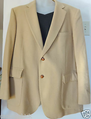 MENS VTG CAMEL HAIR JACKET BLAZER 44 46 LARGE REG Made in Canada TIP TOP Stocky