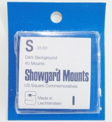 Showgard Dark Stamp Mounts S 31/31 40 Pieces for Square Commemorative NOS m33a