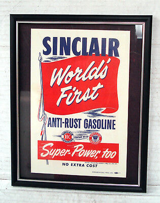 Sinclair World's First Anti Rust Gasoline - Framed Sign - Unused