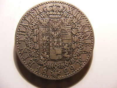 German States Prussia Silver 1 Thaler, 1829, Crowned arms within chain, VF+