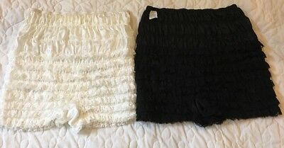PARTNERS Please White and Black Ruffle Blommers PETTIPANT COSTUME SZ L Lot Of 2