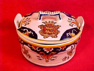 Antique French Faience Handled Lidded Butter Dish Butter Tub c.1900, fm783