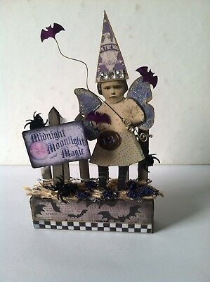 Altered art mixed media fairy block HALLOWEEN 13 MAGIC OOAK  original collage
