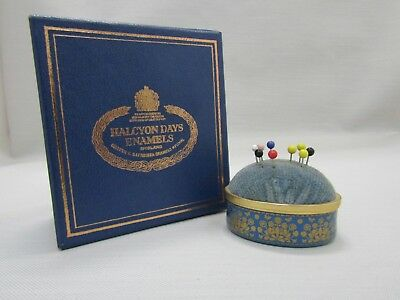 Halcyon Days Blue & Gold Floral Enamel Pin Cushion Made in England
