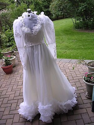 Vintage 70s Victorian Long Sleeve Lace Wedding Gown Dress Corpse Bride Costume M