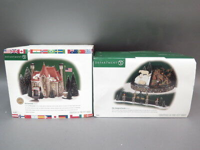 (2) Dept 56 Christmas in the City Zoological Garden & The Consulate Retired