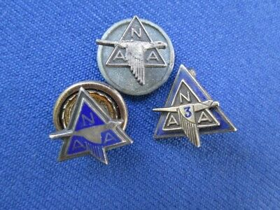 3 Vintage North American Aviation Service Pins NAA 1 Sterling Silver