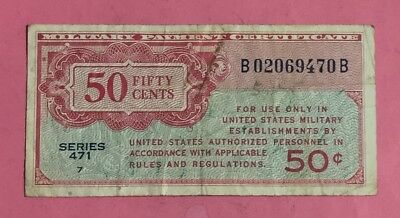 """Military payment Certficate MPC Series 471 """"FIFTY CENTS"""" Old US Currency"""