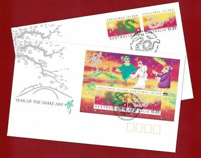 2001 Christmas Island Year of the Snake SG MS 487/9 FDC or fu set 2 covers