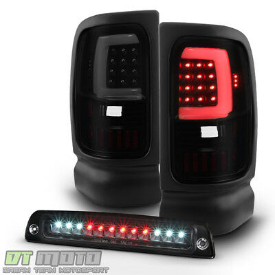 1994-2001 Dodge Ram 1500 Blk Smoke LED Tube Tail Lights+LED 3rd Brake Cargo Lamp