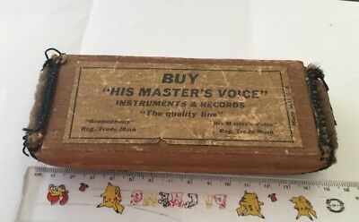 VINTAGE 1930s HMV His Masters Voice WOODEN RECORD CLEANER