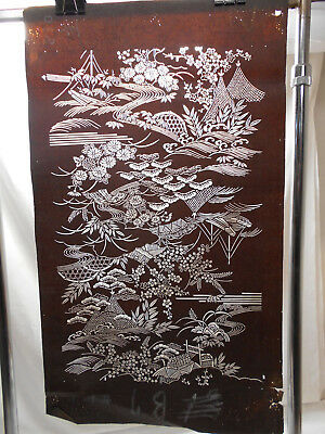 "Vintage Kimono Ise Katagami Hand Cut Stencil ""HUTS and FLORAL"" Japanese Art #49"