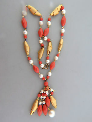 Vintage Faux Pearl Coral Bead Gold Tone Tasssel Necklace Strand