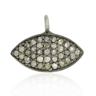 0.44ct Pave Diamond Sterling Silver Marquise Shape Charm Pendant Fashion Jewelry