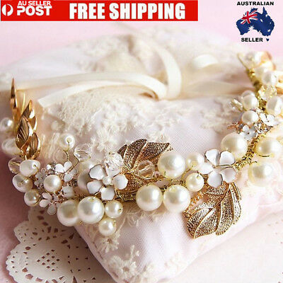 Vintage Floral Gold Leaves Pearl Wedding Hair Tiara Bridal Headpiece Headband AU