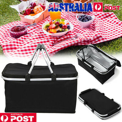 30L Picnic Storage Basket Large Outdoor Foldable Thermal Insulated Zip Bag Alumi