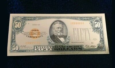 "<MINT> OLD STYLE ""GOLD""$50.00 GOLD CERTIFICATE Fifty DOLLAR Rep.*Banknote W/COA~"