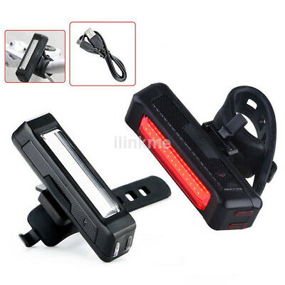 COB USB Rechargeable LED Bicycle Bike Cycling Front Tail Light Modes 6 Rear Z9D1