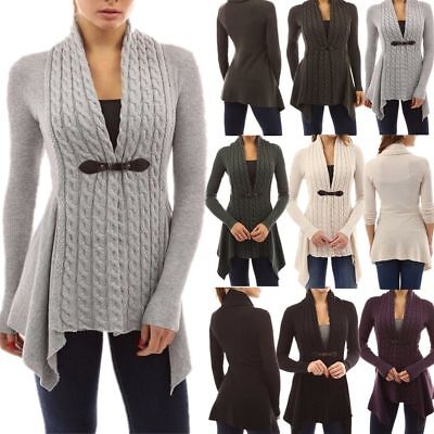 Plus Size Womens Long Sleeve Knitted Sweater Jumper Ladies Tops Cardigan Coat