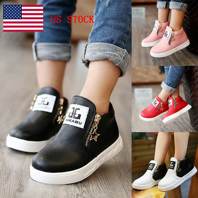 US Children Boys Girls Soft Martin Ankle Boots Kids Stars Zipper Casual Shoes