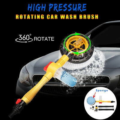 Car Extendable Rotating Vehicle Washing Cleaning Brush Sponge Hose w/Cleaner Cup