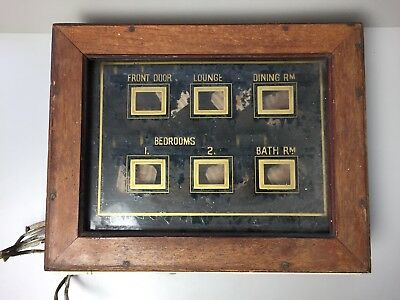 Antique Vintage Butlers or Servants Call Bell Box Indicator For 6 rooms