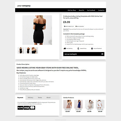 Professional eBay Auction Listing Template with FREE Online Listing Design Tool