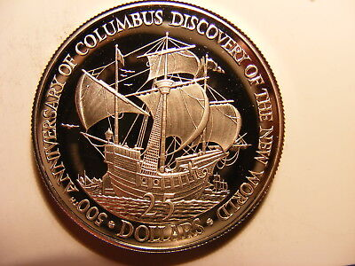 Belize 25 Dollars, 1989, 500th Anniversary - Columbus Discovery of New World