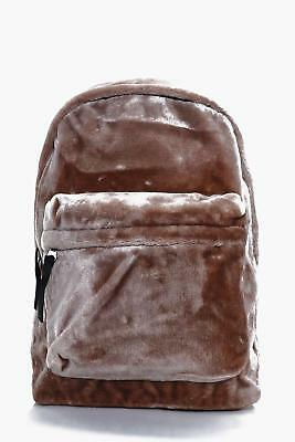 Boohoo Mens Taupe Faux Fur Backpack in Taupe size One Size
