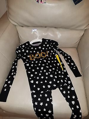 NWT Size 8 Black White Ghost Boo Halloween Pajamas Girl Set Long Sleeve