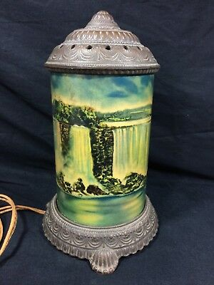Antique Scene In Action Niagara Falls Motion Lamp Cast Iron Glass