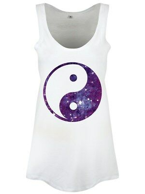 Yin Yang Galaxy Floaty Women's White Vest