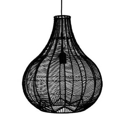 "Paris Prix - Lampe Suspension ""Rotin"" 49cm Noir"